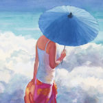 Blue Parasol. Original Watercolor by Shirley Lehner-Rhoades.