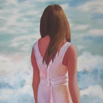 Rachel on the Beach. Original Watercolor by Shirley Lehner-Rhoades..