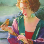 Girl with Summer Tamager. Original Watercolor by Shirley Lehner-Rhoades.