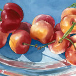 Cherries on Silver Platter Original Watercolor by Shirley Lehner-Rhoades