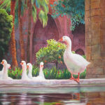 Guardian Geese at Eulalia Cathedral, Barcelona. Original Watercolor by Shirley Lehner-Rhoades.