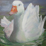 Swimming Goose. Original Oil Painting by Shirley Lehner-Rhoades.