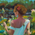 In the Garden of Lotuses II. Original oil painting by Shirley Lehner-Rhoades