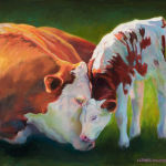 Mother and Calf - Original Oil Painting by Shirley Lehner-Rhoades