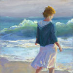 A Walk on the Beach. Original oil painting by Shirley Lehner-Rhoades.