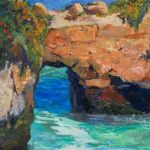 Natural Bridge on West Cliff Drive - Original oil painting by Shirley Lehner-Rhoades